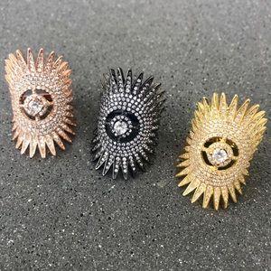 GOLD or ROSE sparkle burst RING rhinestone 8 wrap